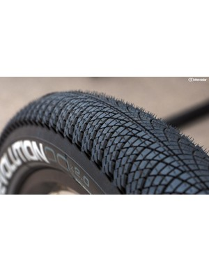 The tread design of the new Vittoria Revolution truly is revolutionary. The dense array of tiny tread blocks supposedly yields even better rolling resistance than a slick tire since the casing is allowed to flex more easily as you ride