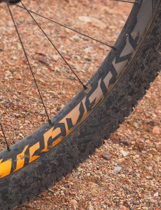 Each tire weighs more than a kilo, but it's surprisingly easy to get the Stumpy up to speed
