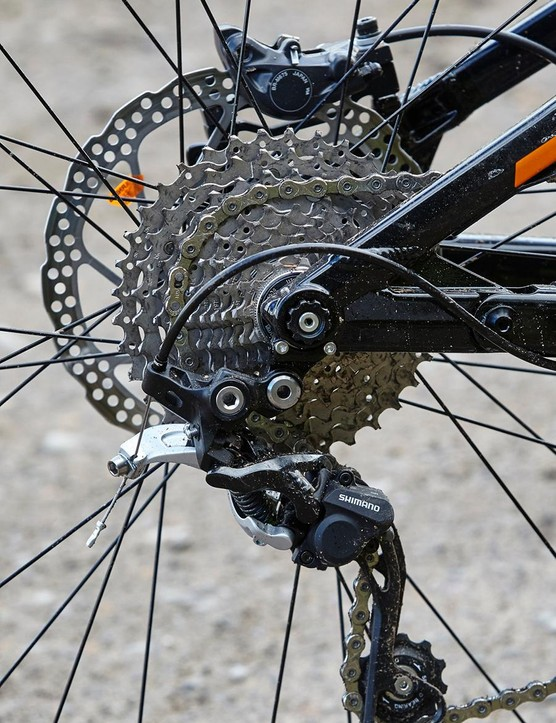 The SLX/XT 2x10 drivetrain will get you up pretty much any ascent