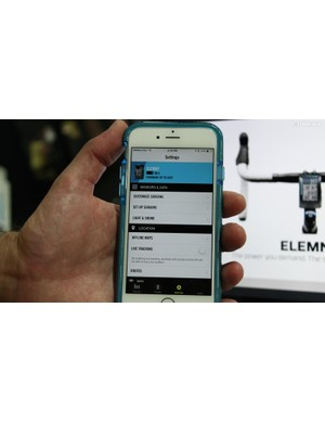 The Elemnt is set up with a smartphone