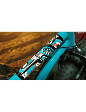 Native American-inspired artwork on the Watchman's top tube