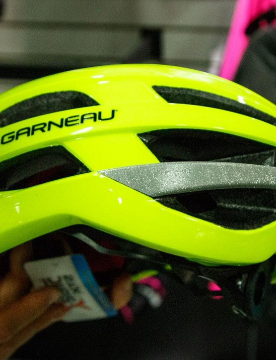 Louis Garneau jons a mass of brands to integrate MIPS technology into its performance road helmets. Additionally, the new Héros MIPS RTR helmet gains some stealthy glass-bead print reflective panels that light up the entire bottom half of the helmet at night. Expect to pay $230 for this lid