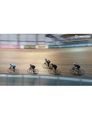 Amateur women's team The Crankettes getting used to the Newport Velodrome