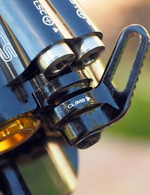 Simply flick the 'climb switch' to settle the shock down on climbs and extended pedaling sections