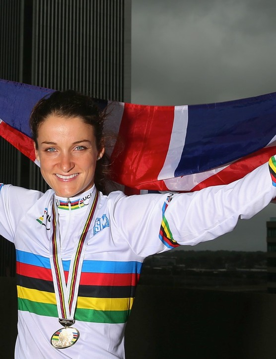 A jubilant Lizzie Armitstead celebrates gold at the Road Cycling World Champs 2015