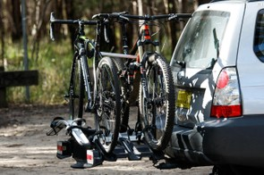 With the fourth bike adapter, the VeloCompact can be expanded to fit four bikes. Pictured here, two bikes show that fitting more bikes can be a bit of a fiddle to prevent bikes rubbing each other