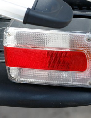The included tail, brake and indicactor lights slide out for wider placement
