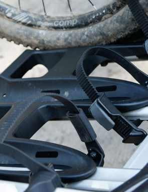 Adjustable wheel holders allow accommodation of everything from kids bikes through to adult 29ers