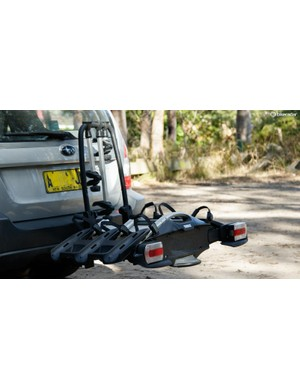 The Thule VeloCompact 927 fits onto a standard towball and is designed to carry three bikes