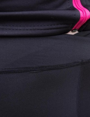 A crossover waistband at the front provides a more comfortable fit
