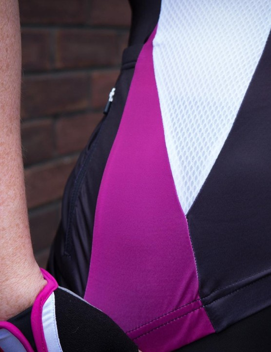The white mesh panel on the side and underarm provides additional breathability