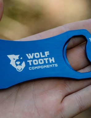 Not a first, but Wolf Tooth Components now offer a bottle opener and disc rotor truing fork in one. Certainly a nice gift idea