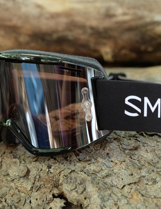 The new Smith Squad MTB goggles have an interchangeable lens and plenty of ventilation to keep them from fogging up