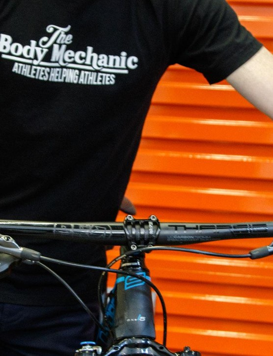 Common mountain bike position causes the hands to rolls inwards, which then flares out your elbows