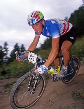 John Tomac racing the 1990 World Champion MTB downhill event