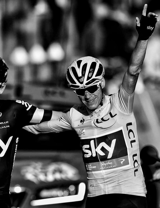 Chris Froome celebrates his Tour win with Sky teammates