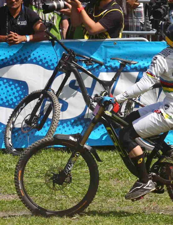 Rachel Atherton celebrates yet another downhill worlds win