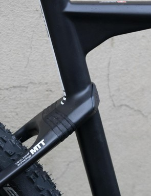 The elastomer damped seatstays of BMC's softtail are claimed to offer increased traction and comfort over the rear end of the company's Teamelite hardtail