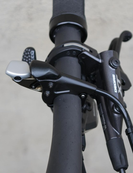 The Fox remote lockout lever puts three compression settings within a rider's fingertips