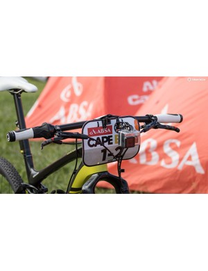 Alban Lakata - 2015 mountain bike marathon world champion - uses a non-traditional, but forward-thinking handlebar shape and position