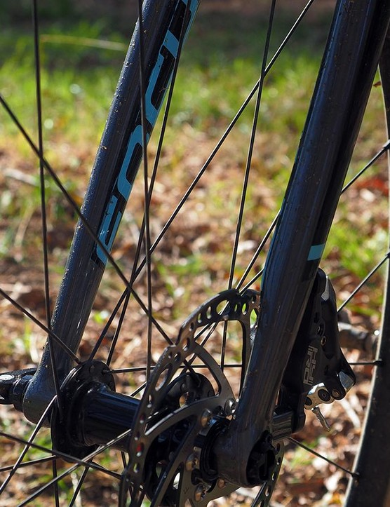 The fork legs are asymmetric to better handle the disc brake loads