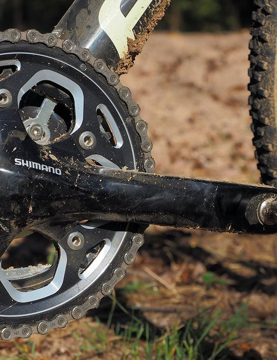 The solid-forged Shimano RS500 crankset is heavier than the hollow-forged 105 part but shift quality is just as good. As a bonus, the more standard five-bolt pattern will make it easier to source chainrings later on
