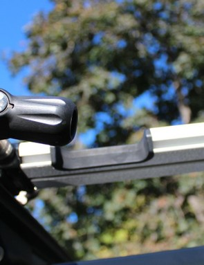 The locking lever works just like a quick release: push to close, pull to open and turn to adjust