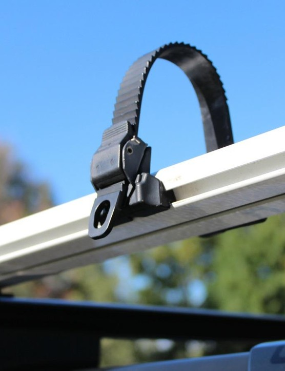 The wheel strap slides fore and aft, and can easily be flipped to the other side