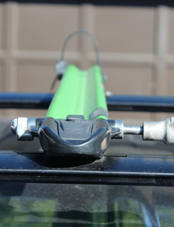 The Euro PitchFork slots securely into the basebar, without any visible exterior bolts or clamps