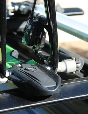 RockyMounts sells a locking thru-axle adaptor for the PitchFork, but bikes with thru axles might be better carried another way