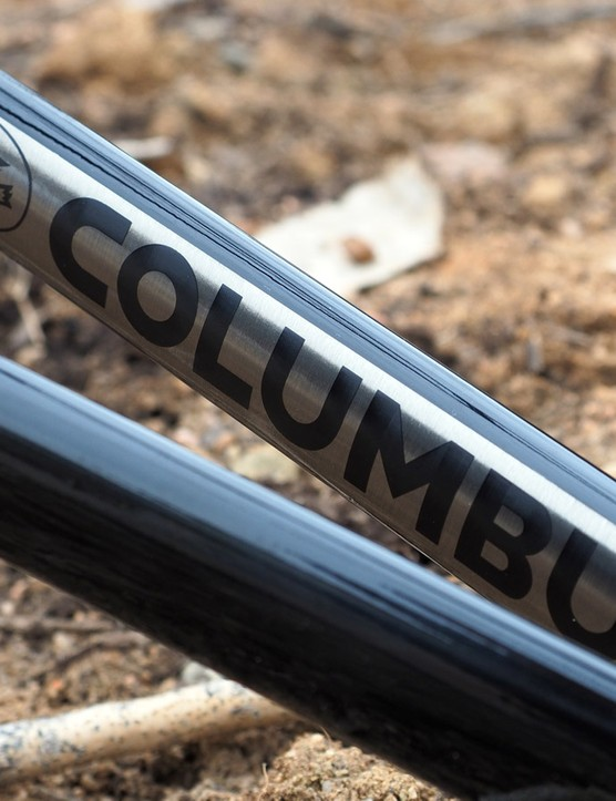 The Columbus logo is proudly sealed beneath the clearcoat on the chainstay