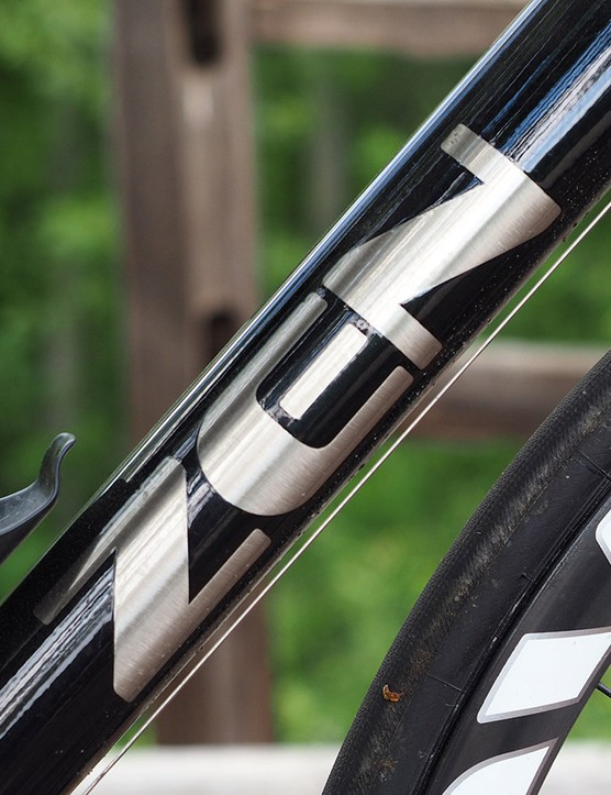 The masked-off logo on the down tube is a classy touch. Logoing on the bike, in general, is refreshingly minimal