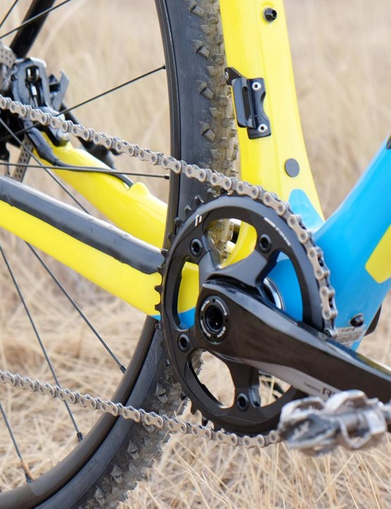 The 1x11 drivetrain provides a wide enough range of gearing for cyclocross
