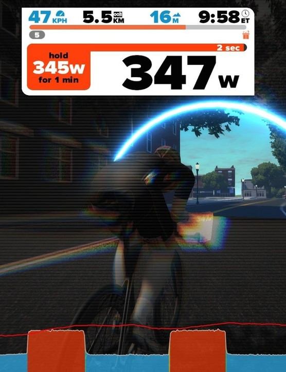 The new WorkoutMode will offer structured workouts, with bars at the bottom and arches on the road indicating when intervals start and end. The workout program is at left