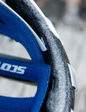 The attachment of the retention system to the front of the helmet may cause a hotspot for some