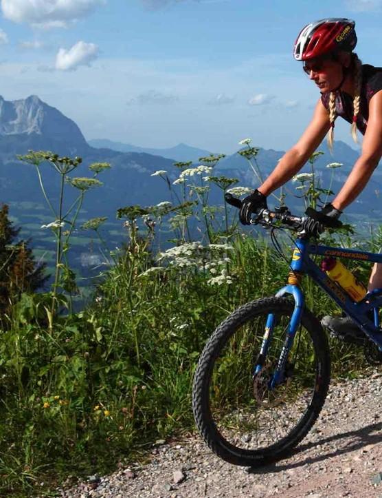 Female mountain biker in the Alps