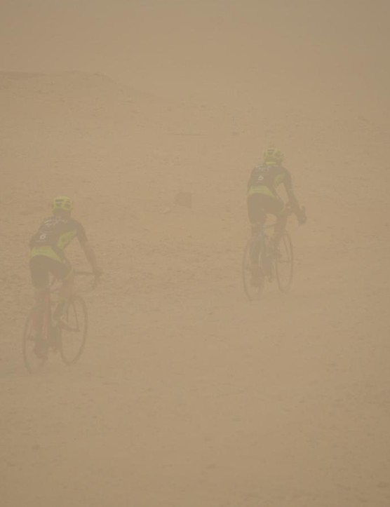 How about riding through a 40 degree celsius sand storm? Not our idea of a fun bike ride
