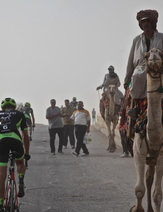 The team riding through Egypt in warm-up to the attempt