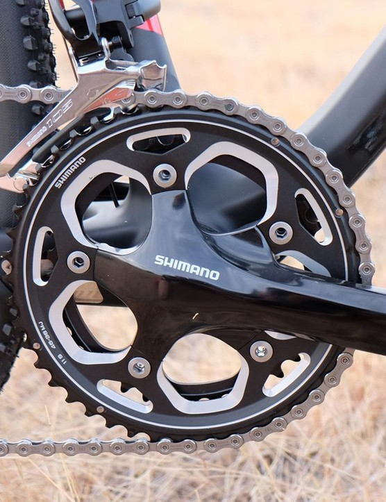 Up front the BSB 9 RDO sports a 46/36t Shimano RS-500 crankset