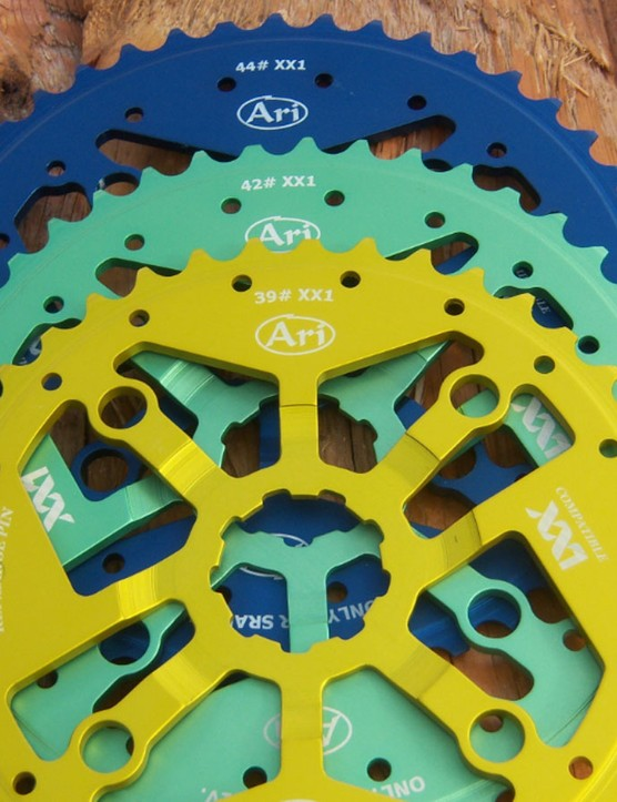 Ari offers its cogs and chainrings in a wide variety of colours – although black is also available