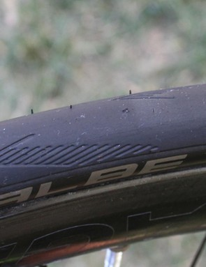 Small holes like the one at the centre are sealed before you even realise your tyre has been punctured