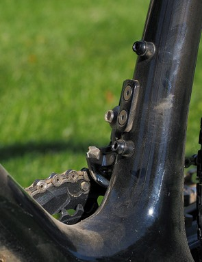 The second bottle mounts are situated low on the seat tube to keep it out of way if you need some fluids during a hot race