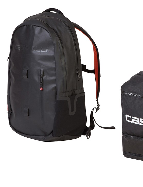 Castelli also has a new range of luggage, including the formerly pro-issue-only rain bag at right