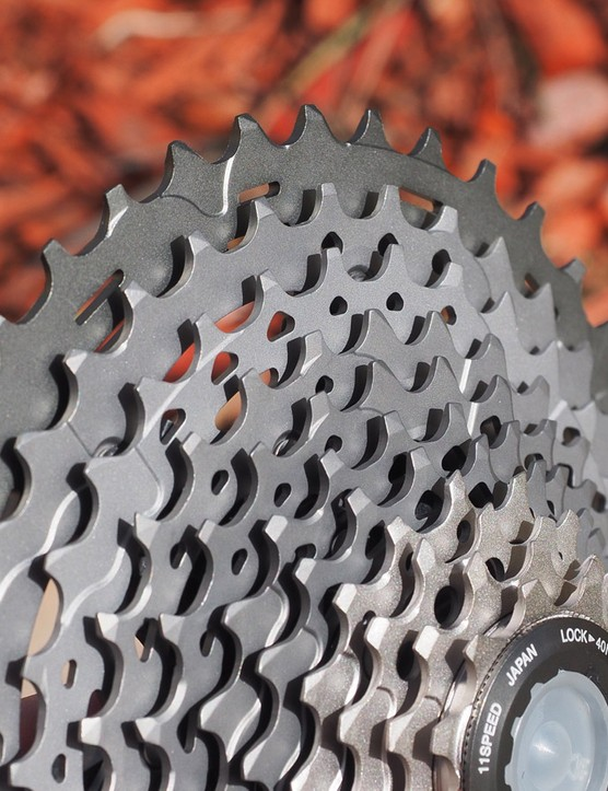 The new 11-speed cassette is Shimano's biggest yet with an 11-to-40-tooth spread. Still, it doesn't offer the range of SRAM's XX1 cluster