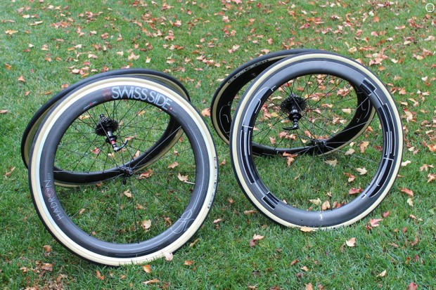 The Swiss Side Hadron 625 and HED Jet 6 Black are alloy clinchers with carbon fairings