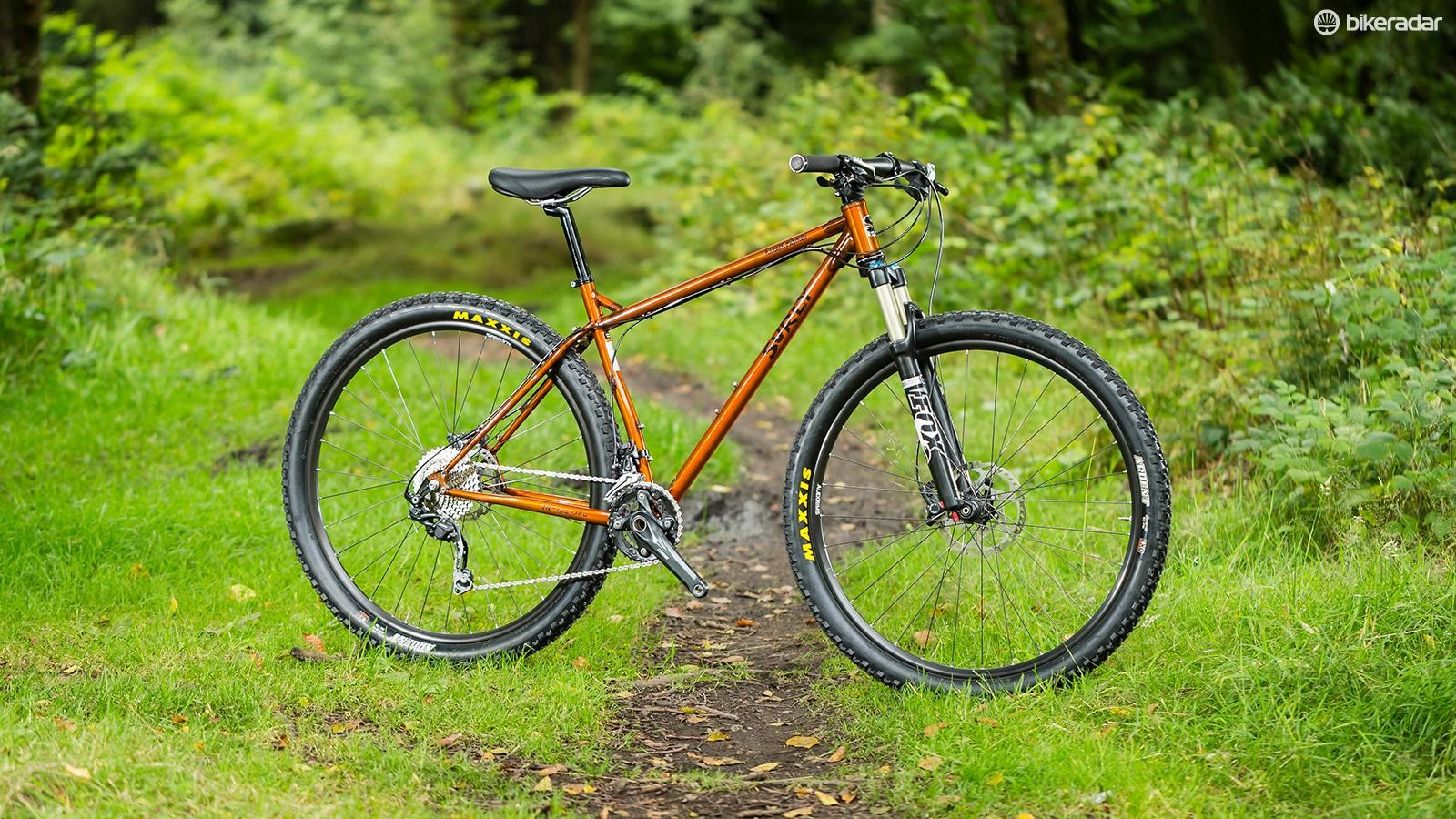 The Surly Karate Monkey's distinctive semi-clearcoat paint finish leaves all the frame's welding details and heat marks visible
