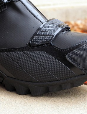 Lightweight impact protection is built into the outer edges of the upper on the new Bontrager OMW shoes