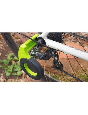 Had problems in the past with bent derailleur hangers while transporting your bike? Consider using Bopworx's new Derailleur Guard – but only if you're running a quick-release rear end