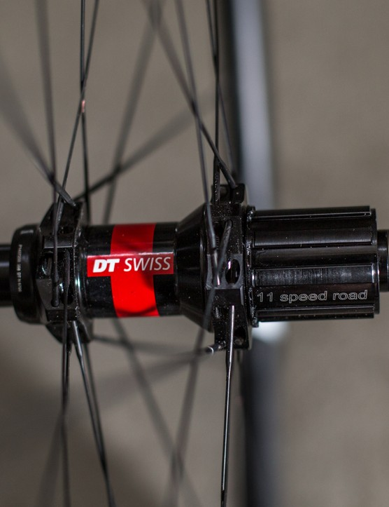 Our sample wheels came with DT Swiss 240 11-speed hubs, but are also available in a slighter heavier and cheaper DT 350 build