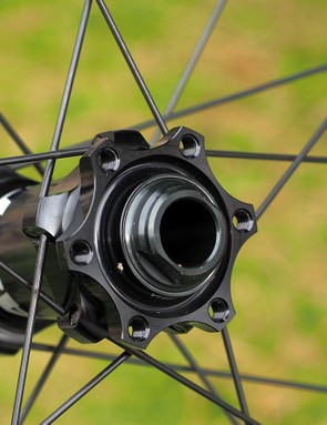 The six-bolt interface precludes the use of some Shimano rotors but allows for bigger bearings